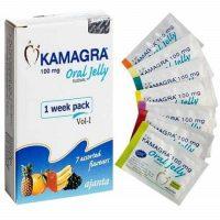 La boite de Kamagra Oral Jelly 100 mga vec des sachets au gel qui soignent la faibless sexuelle