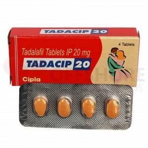 Un Blister avec une boite de Tadacip 20 mg qui lutte contre la faibless sexuelle