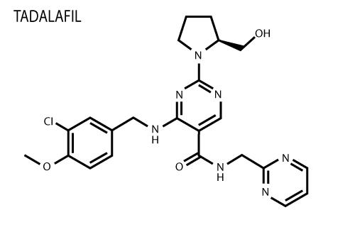 la structure chimique de Tadalafil, une substance contre la dysfonction érectile